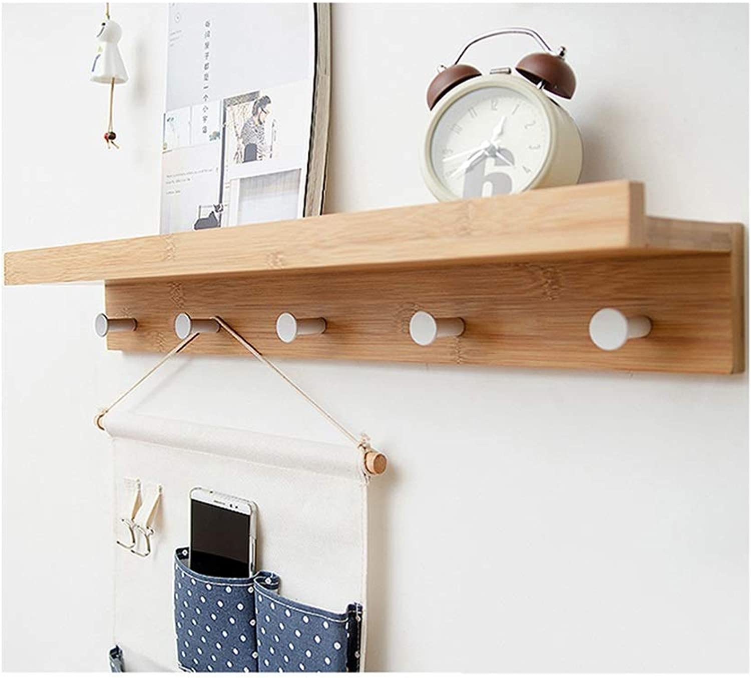 AO-Hook Bedroom Entrance Shelf Solid Wood Clothes Hook Creative Coat Rack (Size   5 Hooks)