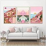 Italia Positano Pisa Lisboa Barcelons Building Poster Pink Moscow Print Lienzo Arte de la pared Pintura Nordic Travel Decoración Imagen-50x70 cm x3 Sin marco