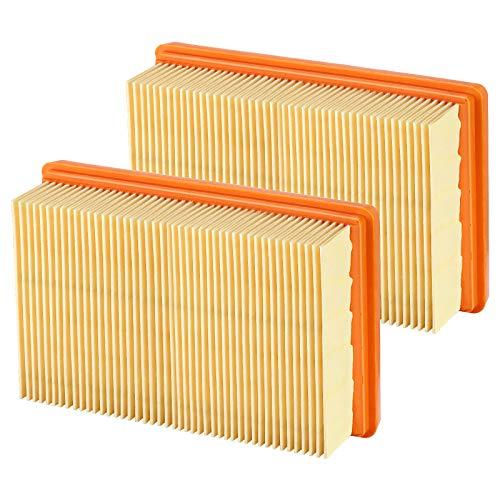 [Nuevo] Isincer Filtro plano plisado de 2 piezas para aspiradora multiusos Karcher MV4 MV5 MV6 WD4 WD5 WD6 WD5P aspiradora en seco y húmedo - reemplaza 2.863-005.0