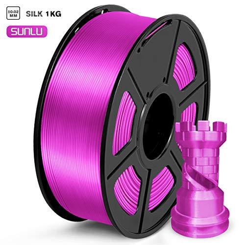 SUNLU PLA Filamento 1.75mm Silk Porpora, Stampante 3D Filament PLA 1kg Spool, Tolleranza del diametro +/- 0,02 mm PLA Silk Pruple