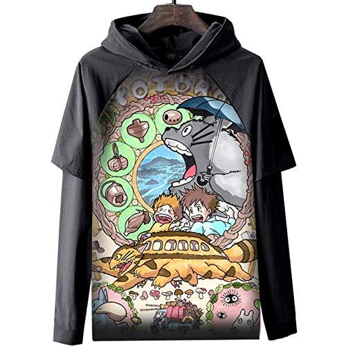Jugendliche 3D Hayao Miyazaki Anime Totoro Hoodie Cosplay Kapuze Langarm Kapuzenpullover Mit Kordelzug Und Tasche,A,S