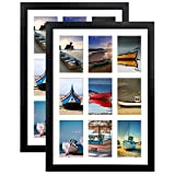 HORLIMER 4x6 Picture Frames Collage with 9 Openings, Set of 2, Black Multi Photo Frame for Wall Hanging