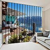N / A 3D Impresión Cortinas Apartamento Frente A La Playa 100% Poliéster Térmica Aislante Anti Ruido para De Habitaciones Juveniles Modernos Cortinas Opacas Personalizadas