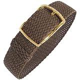 Eulit Kristall 14mm Brown Perlon Gold Buckle Watch Strap
