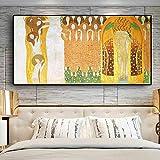 ZWBBO Leinwand Gemälde Dekorative Malerei Beethoven Fries durch Malerei Reproduktion auf Leinwand Kunst Poster und Drucke Bilder Wandbild für Wohnzimmer-70x100cm