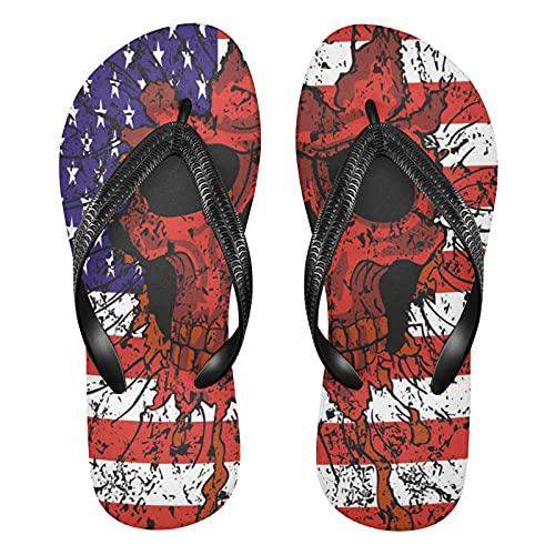 Linomo Chanclas para hombre y mujer, con diseño de graffiti, con bandera estadounidense, de azúcar, para la playa, para el verano, color Multicolor, talla 41/42 EU