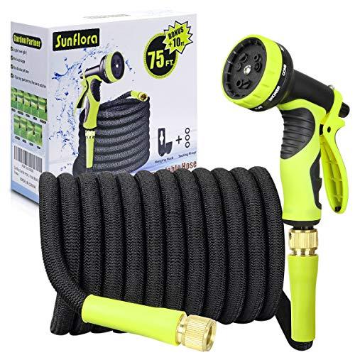Sunflora 75 ft Expandable Garden Hose Bonus 10 feet with Solid Brass Fittings and 9 Patterns Spray Nozzle, Flexible No Kink Water Hoses for Lawn Total 85 Feet (85 FT)