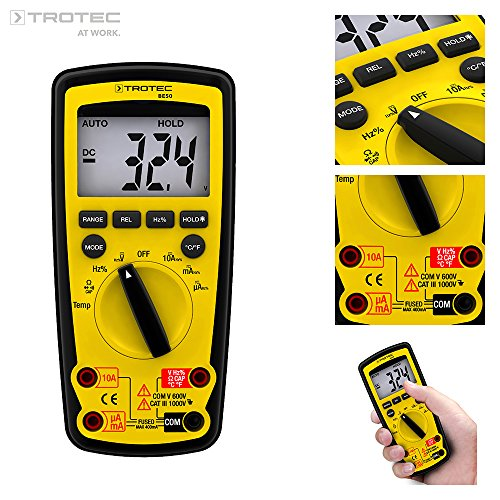 TROTEC BE50 Digital Zangenampermeter Multimeter Strommessung Spannung, CAT III 1.000 V/CAT IV 600 V