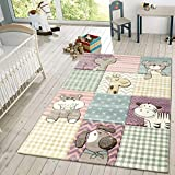 TT Home Kinder Teppich Moderner Spielteppich Niedliche Tier Motive Pastell Farben Bunt, Größe:120x170 cm