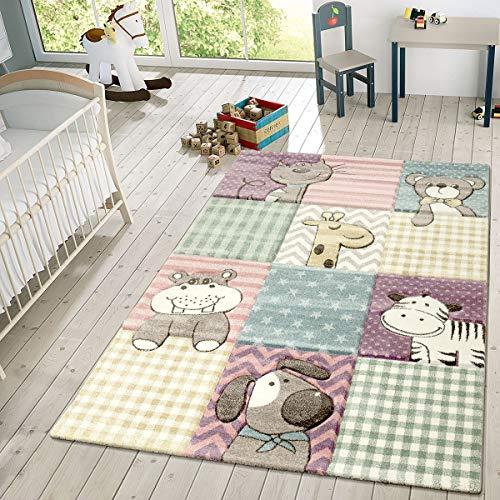 TT Home Kinder Teppich Moderner Spielteppich Niedliche Tier Motive Pastell Farben Bunt, Größe:80x150 cm