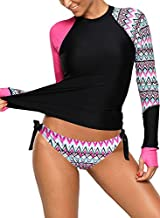 Women's Long Sleeves Rash Guard Athletic Swim Aztec Bathing Suit Beachwear (Small, Pink Purple)