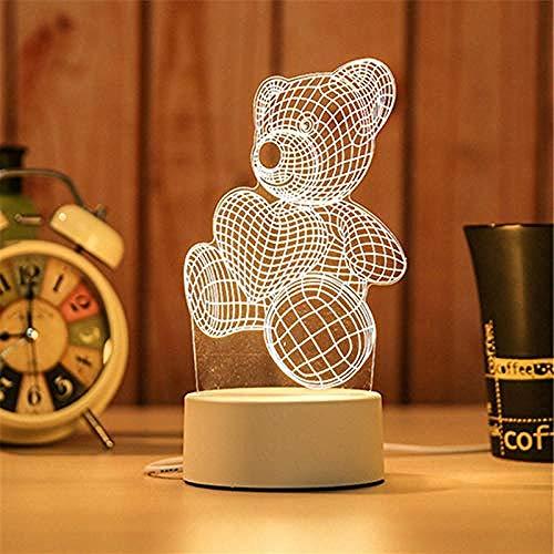 wangzj Night Lights Lámpara de regalo Lámpara de noche-Bear Lámpara pequeña 3D USB Night Light Christmas Birthday Gift led