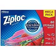 Ziploc Storage Bags, For Food, Sandwich, Organization and More, Smart Zipper Plus Seal, Quart, 80 Count