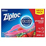 Ziploc Storage Bags, For Food, Sandwich, Organization and More, Smart Zipper Plus Seal, Quart, 80 Count