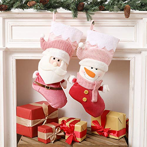 YEMOCILE Christmas Stockings Classic Pink Santa Claus Snowman Hanging Stockings for Home Decor Party