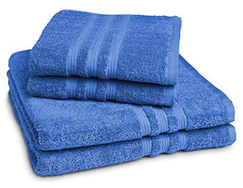 sleepling Handtuch Duschtuch 4er Set (2 x Handtuch 50 x 100 cm / 2 x Duschtuch 70 x 140 cm), 100% Baumwolle (550 gr. / m²), royal