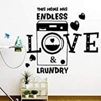 Ytsmsyyこの家には無限の愛とランドリーがありますハートウォールステッカー洗面所ラウドリーファミリーラブクォートウォールステッカービニール家の装飾65cmwidex60cmhigh