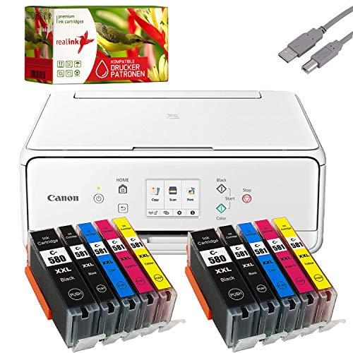 Bundle Canon PIXMA TS6251 Tintenstrahl Drucker Multifunktionsgerät weiß mit 10 komp. realink® Tintenpatronen für PGI-580/CLI-581 XXL (Drucken, Scannen, Kopieren)