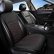 Black Panther 1 Piece Luxury PU Leather Front Car Seat Cover Breathable and Non-Slip Auto Seat Protector for 95% Car Seats (Black+Red Line)