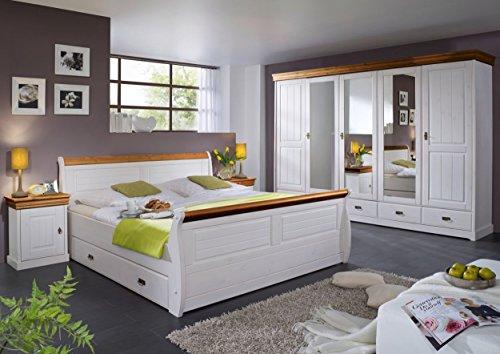 moebel-eins Roman Komplett-Schlafzimmer; Material Massivholz, Kiefer, Weiss/honigfarben, ohne Bettkasten