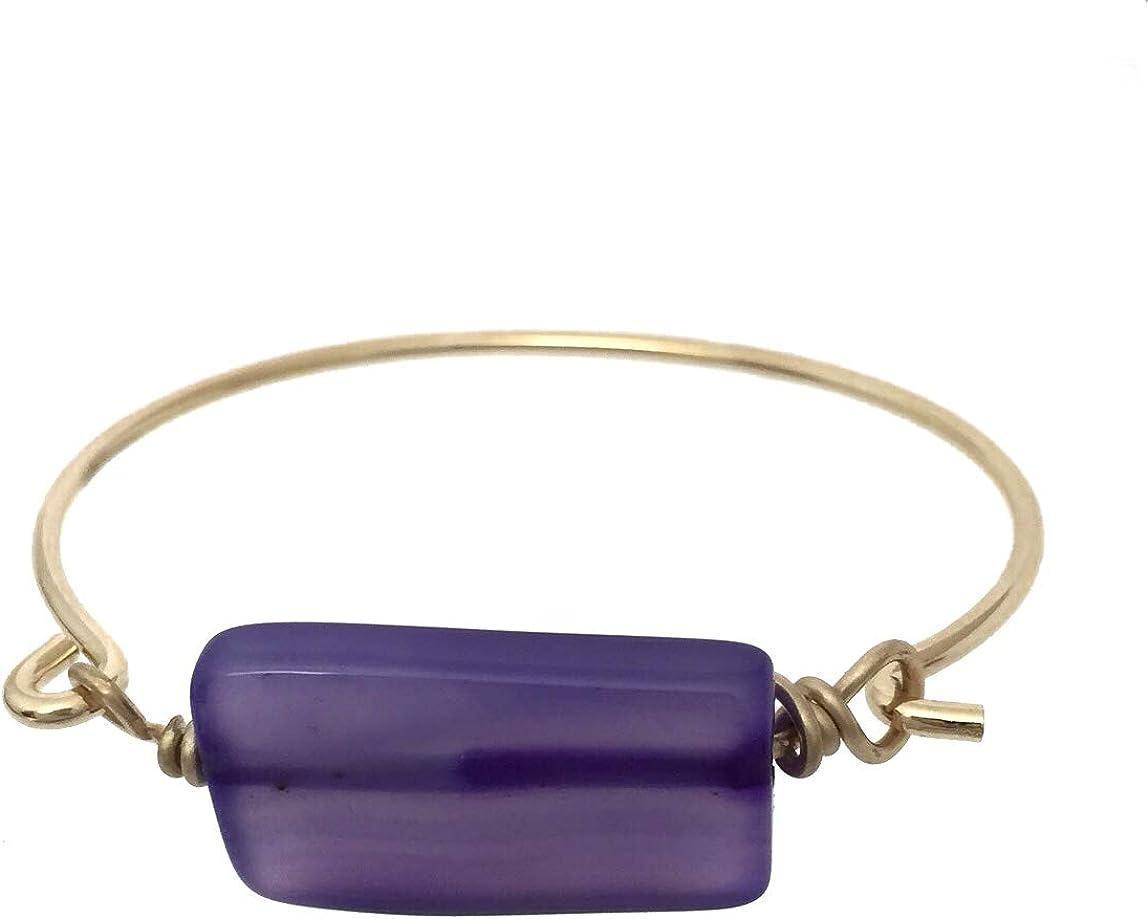 Natural Agate Stone Simple Artesian Look Stackable Gold Tone Hook Bangle Bracelet