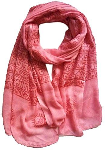 KVR OM AUM Krishna Buddha Ganesha Shiva yoga spiritual auspicious Diwali Pooja Hindu Religious Indian prayer scarf, Size 180x90 cm (Pink-Krishna)