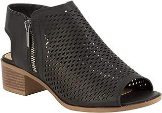 Perforated Block Heel Taupe Booties