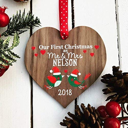 Our first Christmas as Mr and Mrs | married wedding decoration | couples gift | personalised