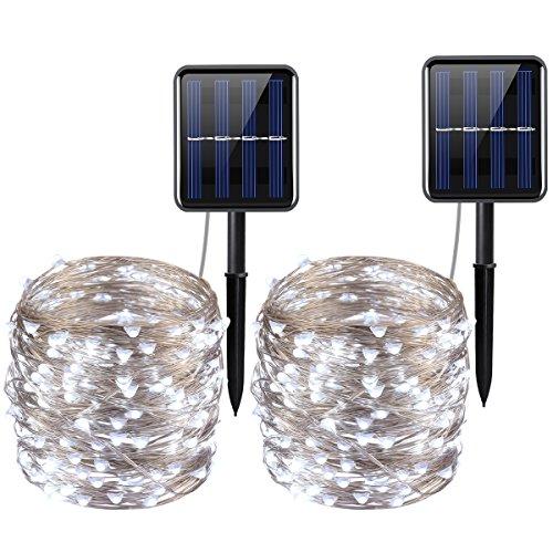 ORIA Solar Lichterkette, 2 Pack 20M 8Modus 200LEDs Silberdraht Lichterkette Weiß, Wasserdicht IP65 Solarlichterkette mit Stehen für Terrasse,Patio, Garten, Parteien &Weihnachtsbäume, etc