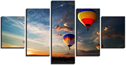 MUASYG 5 Canvas Paintings 5 Pieces Modern Home Decor Modular Pictures Sunset Hot Air Balloon Landscape Wall Pictures for Living Room Wall Posters-30x40 30x60 30x80cm-Frameless