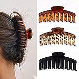 3 Stück Große Haarklammer, 11cm Vintage Einfache Klaue Clips Rutschfest Haarspangen, Pferdeschwanz-Halter, Haar-Accessoires für Frauen Damen Mädchen(Schwarz, Rotwein und Gelb)