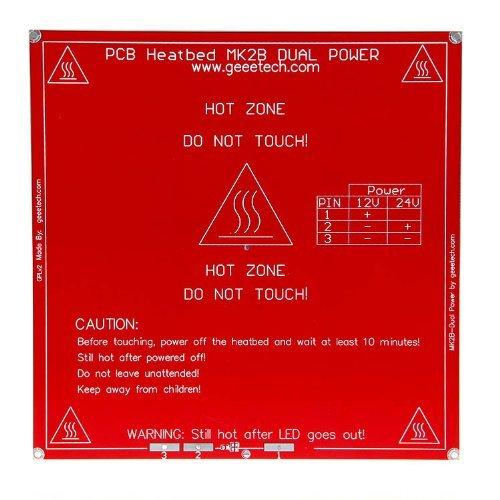 Geeetech RepRap Heatbed PCB MK2B focolaio piastra doppia alimentazione 12/24V per stampante 3D