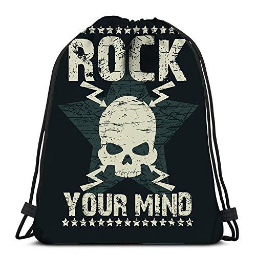 BOUIA Kordelzug Taschen Rucksack Rock Star Schädel Emblem Mode Musik Travel Gym Taschen Rucksack Umhängetaschen