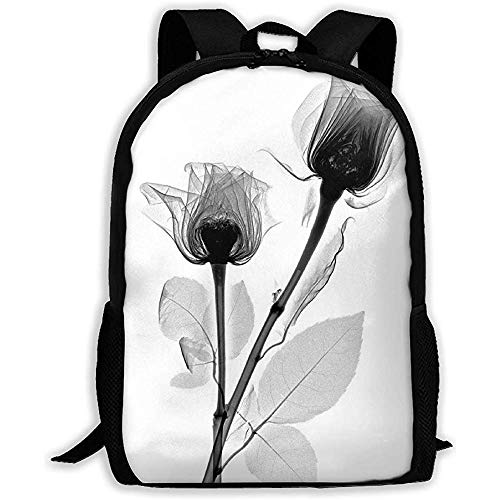 Lily-Shop Pflanze Blumenmuster Grauer Druck Erwachsener Rucksack Laptop Voller Druck Rucksack Erwachsener Rucksack 43cm