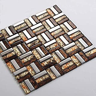 Hominter 6-Sheets Glass Mosaic Tile in Silver/Coffee/Red Basket Weave Design, Metal Coating Glass Tile for Kitchen Backsplashes, Bathroom Showers and Accent Walls D1997