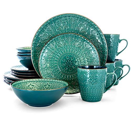 Elama - Vajilla en relieve, Verde azulado y verde., 16 Piezas, 1