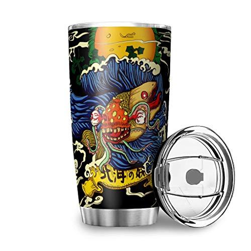 Botella de agua Tumbler para el mar japonés Yokai, con olas, sol, nube, presión para coche, 20 onzas, antigoteo, tapa con tapa, color blanco, 600 ml