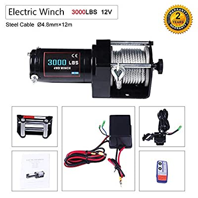 OCPTY Winches Waterproof Offroad 3000 lbs Load 12V 24V Electric Winch with Wireless Remote Control+Control Box+Roller Fairlead+Switch Assembly+Bolts+Users Manual