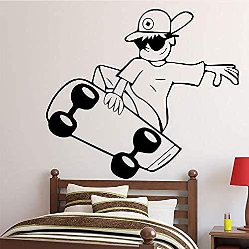 Skater jongen patroon vinyl muursticker wanddecoratie voor kinderkleding winkel schoonheidssalon slaapkamer decoratie muurschildering 58x65cm