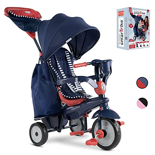 smarTrike Swirl Tricycle 4 en 1 pour Bébé, Bleu Marine/Rouge