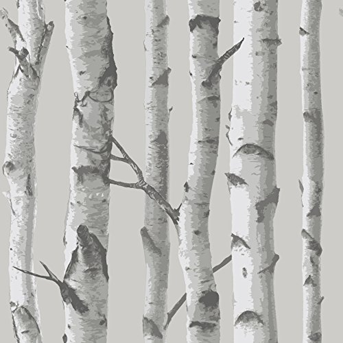 NuWallpaper NU1694 Mountain Birch Grey Peel & Stick Wallpaper