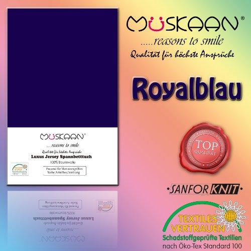 Müskaan Jersey Spannbettlaken Größe 90x190 bis 100x200 cm Farbe royal/Kobalt Spannbetttuch Bettlaken Betttuch mit Rundumgummi 100% Baumwolle