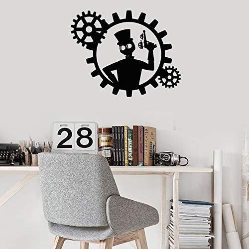 Ajcwhml Apliques de Pared de Vinilo Steampunk Hombre con Arma de Engranajes decoración para el hogar Pegatina Mural