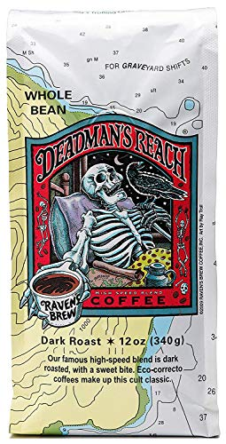Ravens Brew Coffee Whole Bean Deadmans Reach  Dark Roast  Breakfast Coffee Bliss with an Instant Caffeine Supercharge  Delicious as Espresso  12oz Bag
