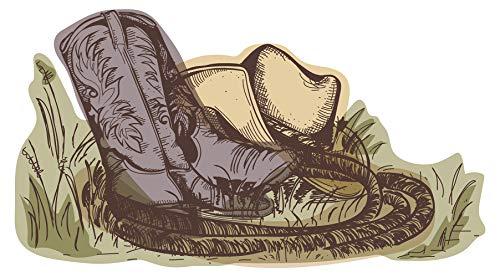 Wandtattoo USA Wandsticker Coole Cowboy Stiefel mit Lasso und Hut Amerika Wandt