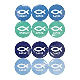 Oblique Unique® Fisch Sticker Danke 24 STK. Aufkleber mit Schriftzug für Christliche Kommunion...