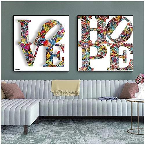 cuadros decoracion salon Street love Graffiti colorido lienzo pintura Crazy love arte de pared pinturas en lienzo arte lienzo carteles e impresiones decorativas 15.7x15.7in (40x40cm) x2pcs sin marco