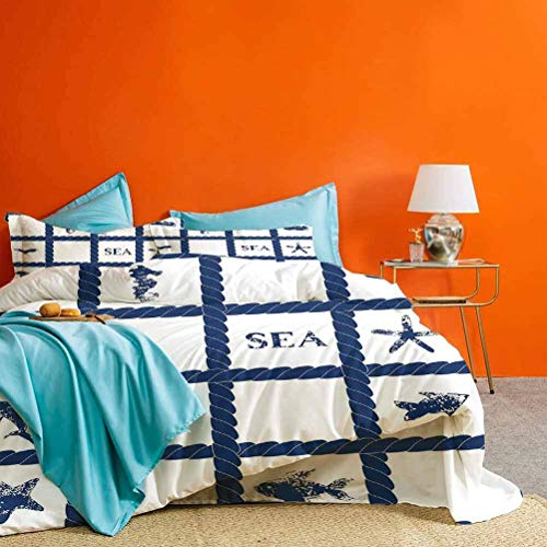 Navy Blue Decor Bed Set Navy Yacht Rope used as Frame with Starfish Fish and Anchor Image Best Hotel Luxury Bedding Navy Blue and White 3 Piece (1 Duvet Cover and 2 Pillow Shams) California King