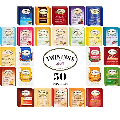 Twinings Herbal and Decaf Tea Bags Sampler - Gift Variety Set - 50 Ct, 25 Flavors