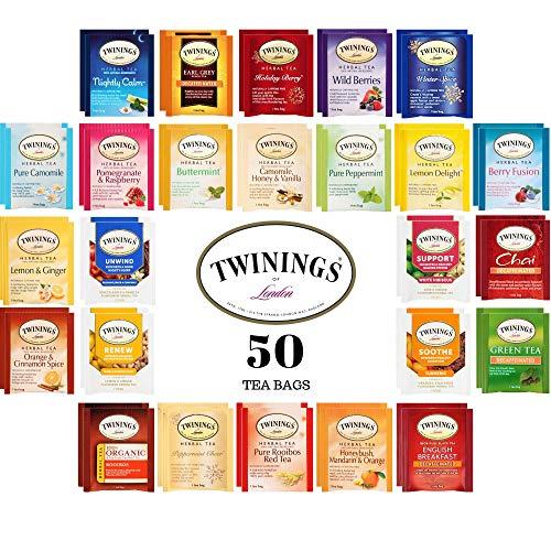Twinings Herbal and Decaf Tea Bags Sampler, 50 Ct, 25 Flavors